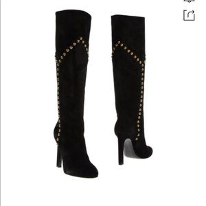 Yves St- Laurent  Grace 105 Gold Studded boots
